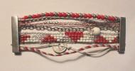 Manchette rouge, gris et blanc