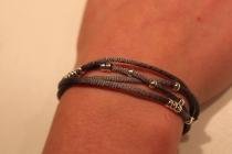 Bracelet gris souris satiné